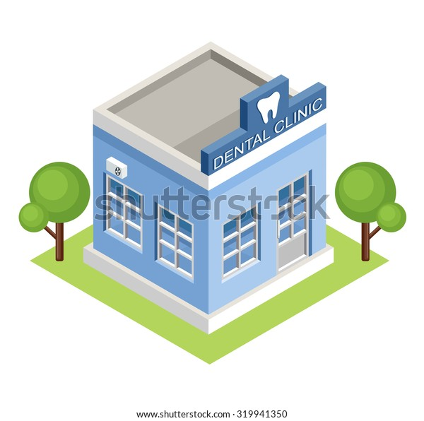 Isometric dental clinic. Raster illustration