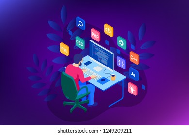 Isometric Developing programming and coding technologies. Website design
