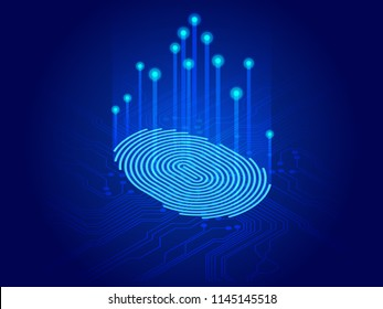 Isometric digital modern identify and measuring the bright fingerprint on the digital surface. Future of security, password control through fingerprints in immersive technology future and cybernetic