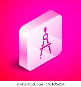 Isometric Drawing compass icon isolated on pink background. Compasses sign. Drawing and educational tools. Geometric instrument. Silver square button.