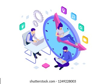 Isometric Effective time management concept. Business people plans and organizes working time, deals deadlines, achieve goals. Isolated on white background.