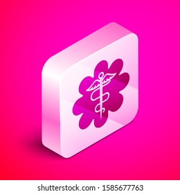 Isometric Emergency star - medical symbol Caduceus snake with stick icon isolated on pink background. Star of Life. Silver square button.