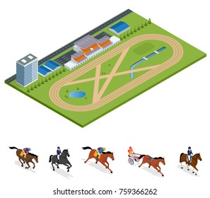 Isometric Exterior Racecourse and set Jockey on horse, Champion, Horse riding for Sport background. Stallion race track. Illustration. Equestrian sport.