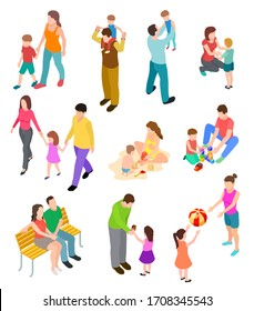 Isometric family. Children parents in different home and outdoor activity. 3d people families set