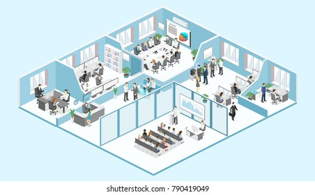 Isometric flat 3d abstract office floor interior departments concept . conference hall, offices, workplaces, director of the office interior