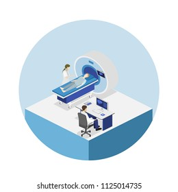 Isometric flat 3D concept hospital medical mri web illustration. Nuclear magnetic resonance imaging tomography room interior.
