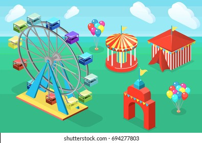 Isometric flat 3D isolated concept city banners with carousels. amusement park