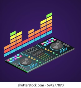 Isometric Flat 3D Isolated Concept Dj Console
