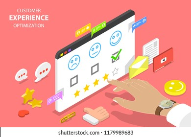 Isometric flat  concept of customer experience optimization, crm, relationship management, client rating, user satisfaction.