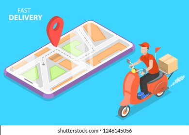 Isometric flat concept of delivery by scooter, courier service, goods shipping, food online ordering.
