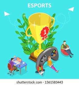 Isometric flat concept of esports tournament, cyber sport championship, online gaming.