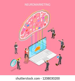 Isometric flat concept of neuromarketing, digital compaign, commercial marketing strategy, ai, artificial intelligence.