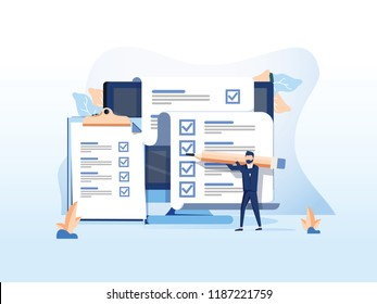 Isometric flat concept of online exam, questionnaire form, online education, survey, internet quiz. Survey or exam form long paper sheet with answered quiz checklist and success result