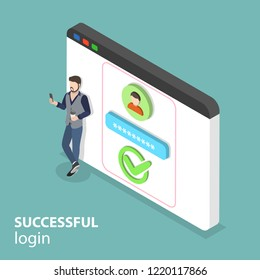 Isometric flat concept of successful login, mobile sign up.