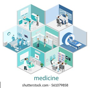 Isometric flat interior of hospital room, pharmacy, doctor's office, waiting room, reception,  operating. Doctors treating the patient. Flat 3D illustration