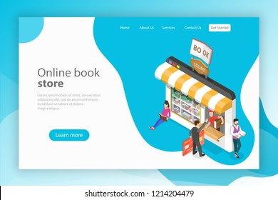Isometric flat landing page template. Online bookstore, electronic library, ebook shop, education and reading.