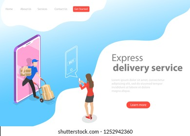 Isometric flat landing page template of express delivery service, courier service, goods shipping, food online ordering.