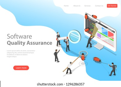 Isometric flat  landing page template of software quality assurance, SQA, product testing and debugging, programming and coding.