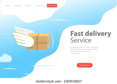 Isometric flat landing page template of fast delivery service, courier service, goods shipping, food online ordering.