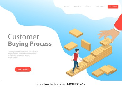 Isometric flat landing page template of customer journey map, user buying process, promotion and advertising, digital marketing campaign.