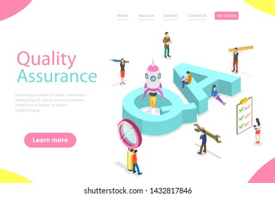 Isometric flat landing page template of QA, quality assurance, software app testing, coding and programming, question and answer, SQA team.