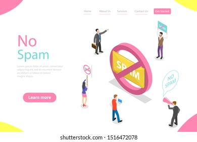 Isometric flat landing page template of no spam, warning sign.