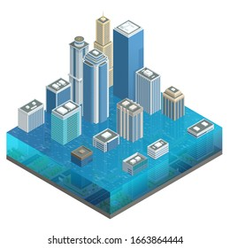 Isometric flooded city, flood, global warming. City floods and cars with garbage floating in the water. High and fast water.