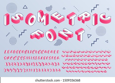 Isometric font. Geometric alphabet 3d letters cubic blocks and perspective numbers. Font futuristic letter, alphabet lettering abc typeface and numbers. Isolated sign  set