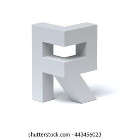Isometric font letter R 3d rendering