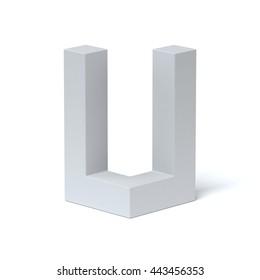 Isometric font letter U 3d rendering