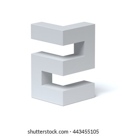 Isometric font number 2 3d rendering
