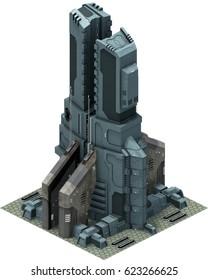 Isometric futuristic sci-fi architecture, futuristic base. 3D rendering
