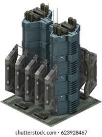 Isometric futuristic sci-fi architecture, cargo station. 3D rendering