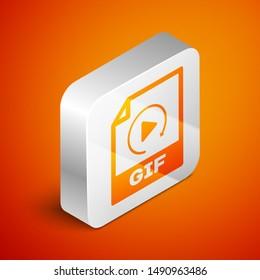 Isometric GIF file document icon. Download gif button icon isolated on orange background. GIF file symbol. Silver square button