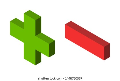 Isometric green plus and red minus signs isolated on white. Addition, subtraction, positive and negative concept. Flat design