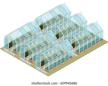 Isometric greenhouse with glass walls, foundations, gable roof, garden bed. Mass farm for growing plants. Horticultural conservatory for vegetables and flowers. Greenhouse cultivate gardening.