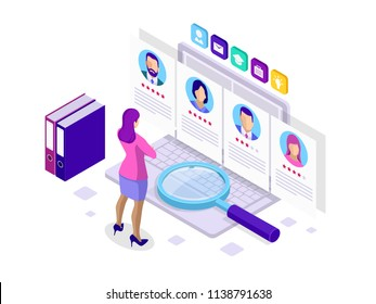 Isometric hiring and recruitment concept for web page, banner, presentation. Job interview, recruitment agency illustration.