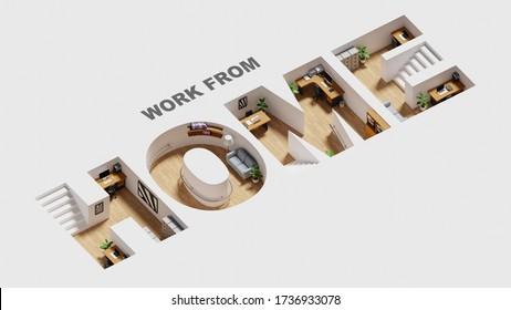 Isometrisches Heimbüro in häuslicher Alphabetform, Arbeit aus dem Heimkonzept, 3D-Darstellung und Illustration.