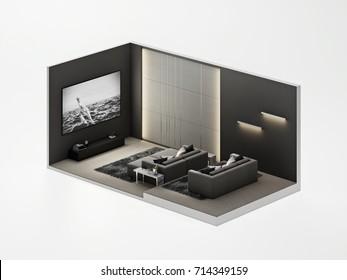 Isometric home Theater room modern Luxury interior , 3D render