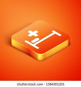 Isometric Hospital Bed with Medical symbol of the Emergency - Star of Life icon isolated on orange background.