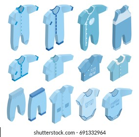Isometric icon set children's clothes for newborn baby boy on white background. Overalls, shirt, rompers, pants and baby's loose jacket. Collection blue clothing. 3d illustration.