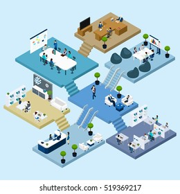Isometric icons of multistoried office center with abstract scheme of floors rooms and activities  illustration
