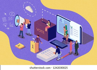 Isometric illustration concept. Group of people give online vote. Content for web page, banner, social media, documents, cards, posters, news. Vintage texture