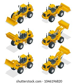 Isometric illustration yellow bulldozer tractor, construction machine, bulldozer isolated on white. Yellow Wheel Loader, Industrial Vehicle. Pneumatic Truck. Manufacturing Equipment.