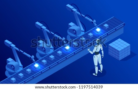 Isometric Industry 40 Concept Artificial Intelligence Stock