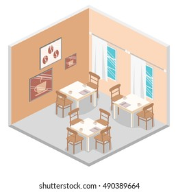 Isometric interior of coffee shop. flat 3D isometric design interior cafe or restaurant. Concept illustration of the room.