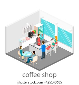 Isometric interior of coffee shop. People sit at the table and eating.
