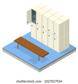 Isometric Interior of a locker and changing room. Changing locker room with shower enclosures benches and storage closets illustration