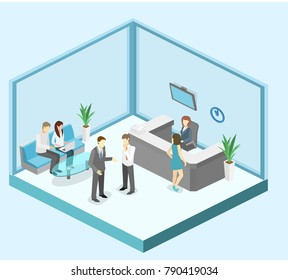 Isometric interior of reception. Flat 3D real illustration of waiting room