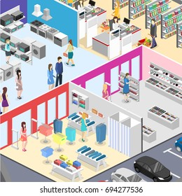 isometric interior shopping mall, grocery, computer, household, equipment store. Flat 3d illustration